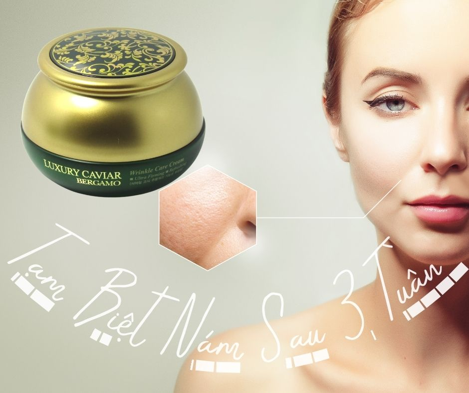 Kem Trị Nám Bergamo Luxury Caviar tính năng Chứa peptide