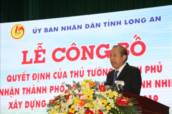 Phó Thủ tướng Thường trực Chính phủ Trương Hòa Bình phát biểu tại buổi lễ.